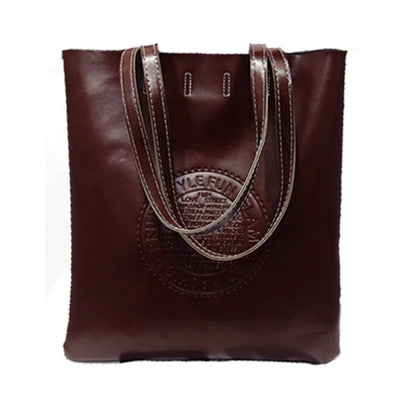 Women's Shoulder  Vintage Solid Large Capacity Embossed Bag