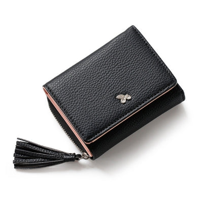 Tassels Zipper Hasp Women Wallet Coin Card Cash Fashion Lady Small Purse Short Solid Female Clutch