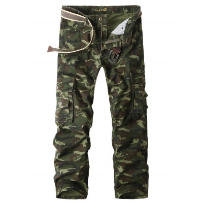 Buttton Pockets Straight Leg Camo Cargo Pants