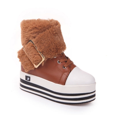 Women Winter Fashion Casual PU Fur Buckle Boots Roman Soft Comfortable Waterproof High Wedge Heel Lace Shoes