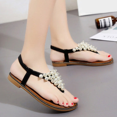 Faux Pearl Thong Flat Sandals