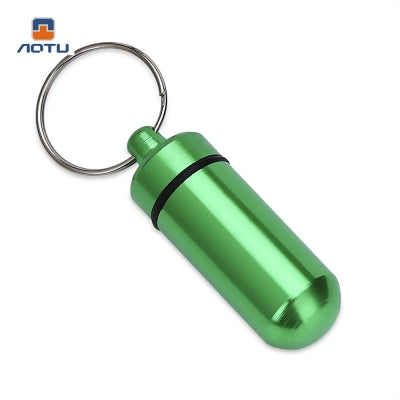 Aotu AT7605 Outdoor Emergency Aluminum Alloy Medicine Bottle with Key Ring