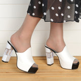 Peep-toe Platform PU High Heel Slippers Women Shoes