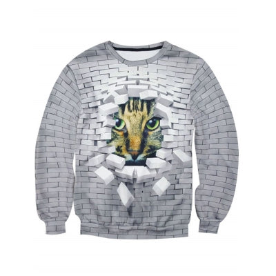 Bricks Cat Print Sweatshirt