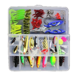101pcs Bionic Lure Fishing Minnow Crank Spoon Soft Hard Bait Spinner Hook Tackle