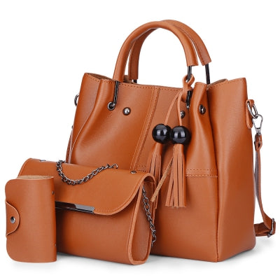3pcs PU Leather Handbag Women Shoulder Bag Card Holder