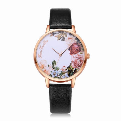 Fanteeda FD136 Women Classic Flowers Dial Leather Band Quartz Wrist Watch