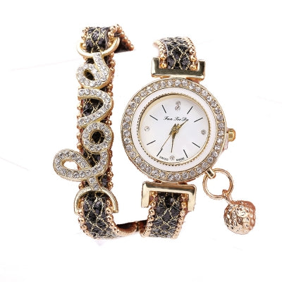 Fanteeda FD082 Women LOVE Letters Wrapping Watch