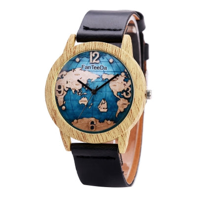 Fanteeda FD068 Unisex Fashion Wooden Case PU Band Quartz Watch