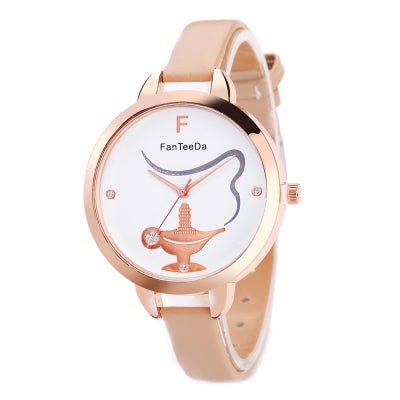 Fanteeda FD056 Women Unique Dial Pu Band Quartz Watch