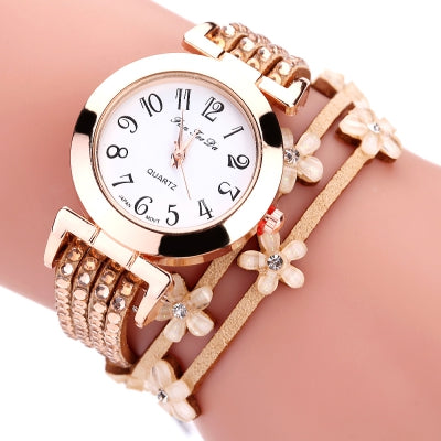 Fanteeda FD094 Women Arabic Numbers Rhinestones Wrist Watch with Flowers