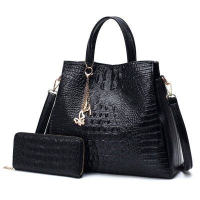 Fashion PU Leather Shoulder Bags Brand High Quality Ladies Tote Bag Women Big Handbags 2 pieces