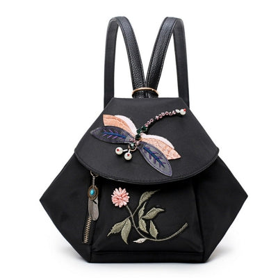 National Style Women Embroidered Bead Backpack Vintage Anti-theft Shoulder Bag