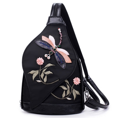 3D Diamond Dragonfly Women Shoulder Bag Embroidery Flower Ladies Backpacks School Bags For Girls