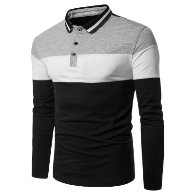 Turn-down Collar Long Sleeve Color Blocking Men T-shirt