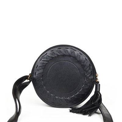 Women's Crossbody  Fashionable Solid Weaving Round Tassel Bag