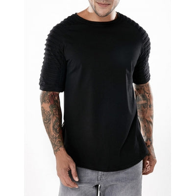 Pleated Sleeve Zipper Hem T-shirt