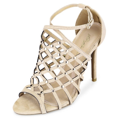 Pointed Toe Hollow Out Rivet Stiletto Heel Women Sandals