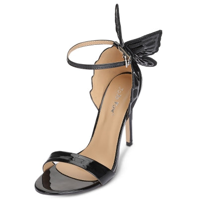 Open Toe Ankle Strap Butterfly Stiletto Heel Women Sandals