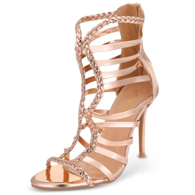 Pointed Toe Stiletto Heel Strappy Women Gladiator Sandals