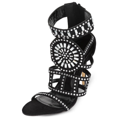 Pointed Toe Hollow Out Rhinestone High Heel Women Sandals