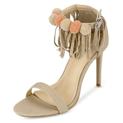 Open Toe Fringed Ankle Strap Stiletto Heel Women Sandals