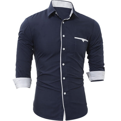 New Patch Pockets Men's Casual Slim Long-Sleeved Shirt