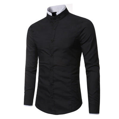 Fashion Men's Small Collar Design Solid Color Long Sleeve Shirt