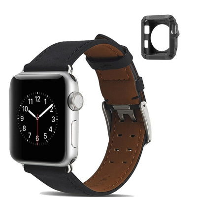 42mm Genuine Leather Watch Band Watch Bracelet for Apple Watch Series 1/2/3 Silica Gel to Protect Shell
