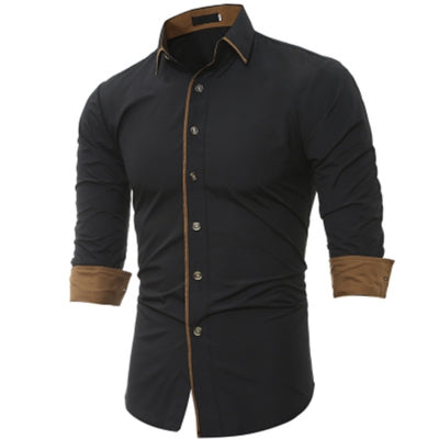 New Classic Color Personality Striped Men's Casual Slim Long-Sleeved Shirt
