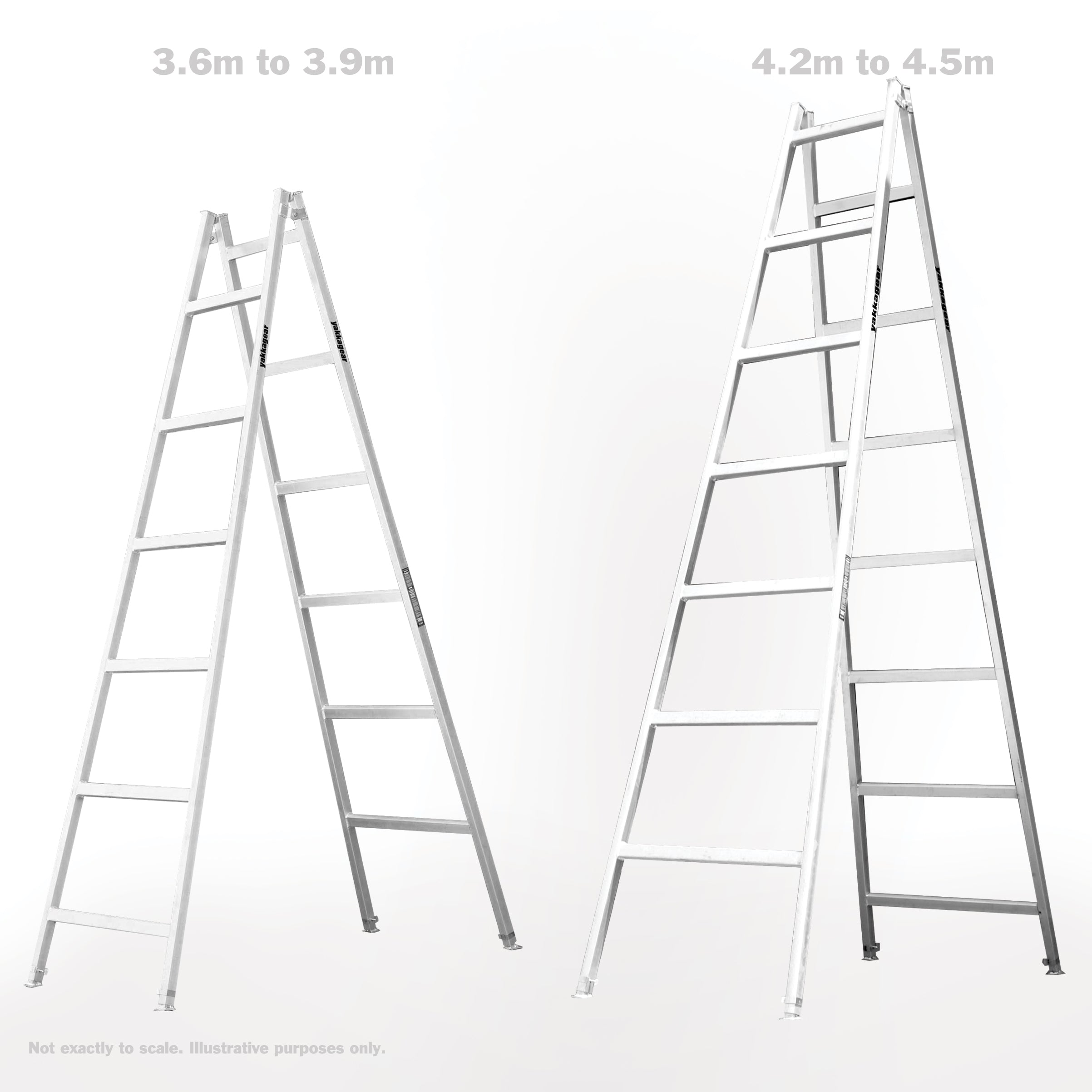 yakka gear 3.6m - 3.9m adjustable trestles comparison to 4.2m to 4.5m