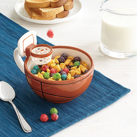 playful basketball hoop bowl mug cereal