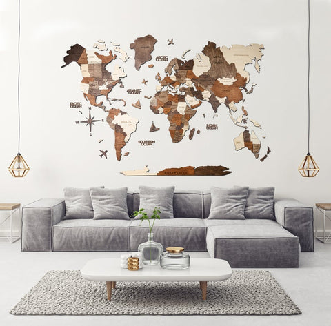 wooden map with push pins home decor