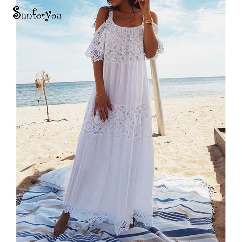 White Bohemian Lace Cotton Dress