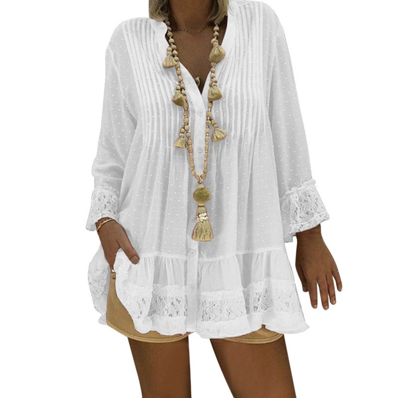 Lace Chiffon Loose Blouse Women