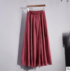 Cotton Linen Vintage Maxi Skirt