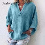Soft Cotton/ Linen Loose Long Sleeved  Blouse