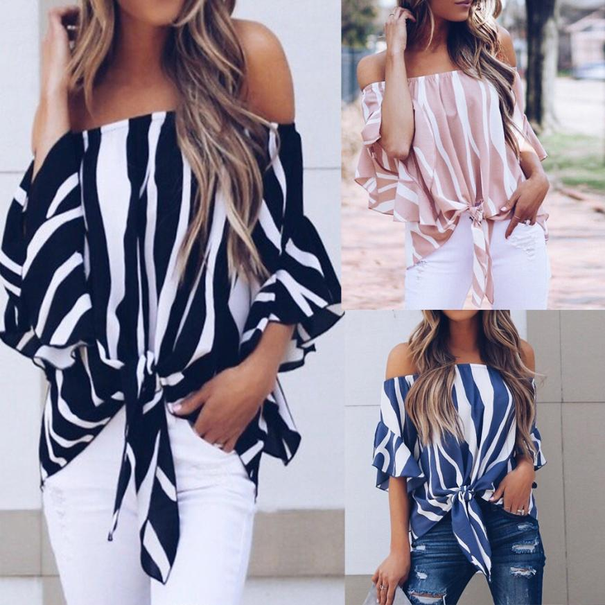 Women Striped Off Shoulder Waist Tie Short Sleeve Casual