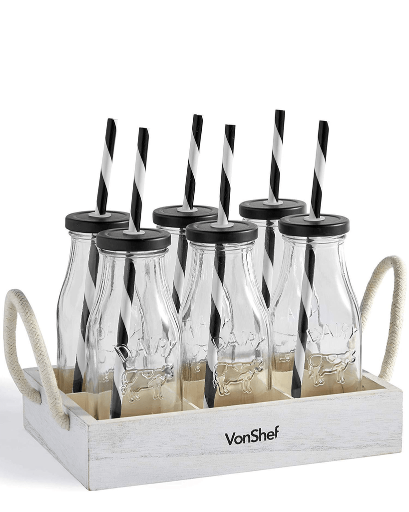 VonShef Set of 6 Glass Milk Bottles With Stand