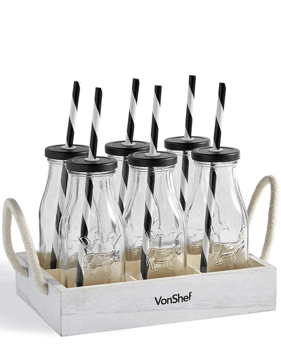 Image: VonShef Set of 6 Glass Milk Bottles With Stand