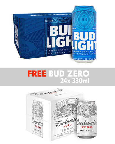 Image: Bud Light Lager Beer Multipack, 24 x 568 ml + FREE BUDWEISER 0.0% 24 x 330 ml