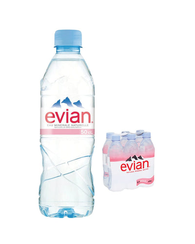 Image: Evian Natural Spring Water Plastic Bottle Multipack, 5 x 6 x 500 ml