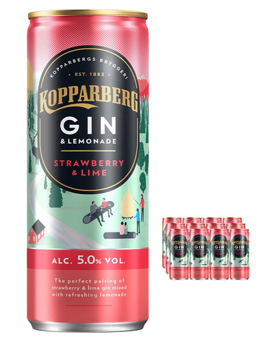 Image: Kopparberg Strawberry & Lime Gin and Lemonade Premixed Can, 12 x 250ml