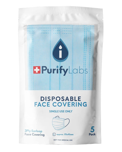 Image: Purify Labs 3 Ply Disposable Face Covering, Pack of 5