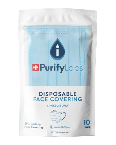Image: Purify Labs 3 Ply Disposable Face Covering, Pack of 10