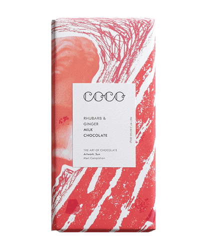 Image: COCO Rhubarb & Ginger Chocolate Bar, 80g