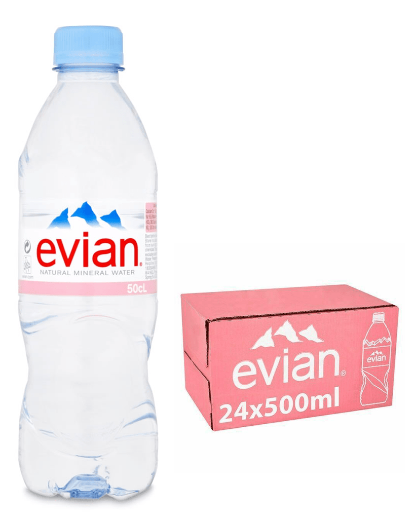 Evian Natural Spring Water Multipack, 24 x 500 ml