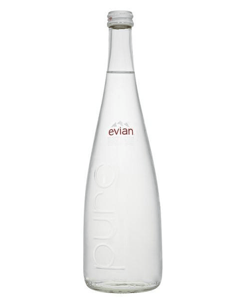 Evian Glass Bottle, 12 x 750 ml Multipack