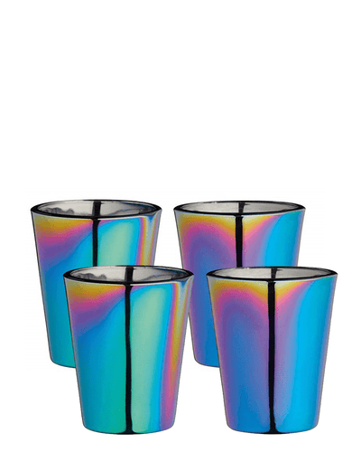 Image: BarCraft Metallic Rainbow Iridescent Small Shot Glasses