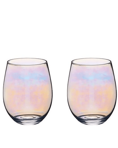 Image: BarCraft Set of Two Iridescent Glass Tumblers